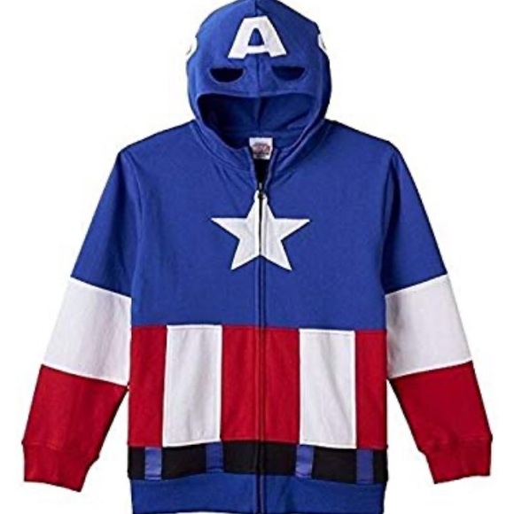 Marvel Avengers Captain America Hoodie Boy/'s sz 5-6 Zip-Up Costume Jacket NWT